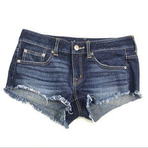 American Eagle Jean Cut Off Shorts Dark Wash